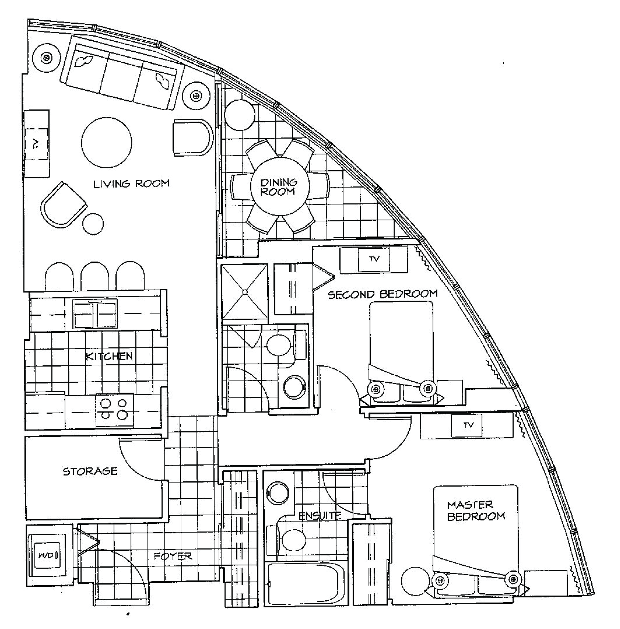 Floor Plan of Two Bedroom Apartment at The Palisades