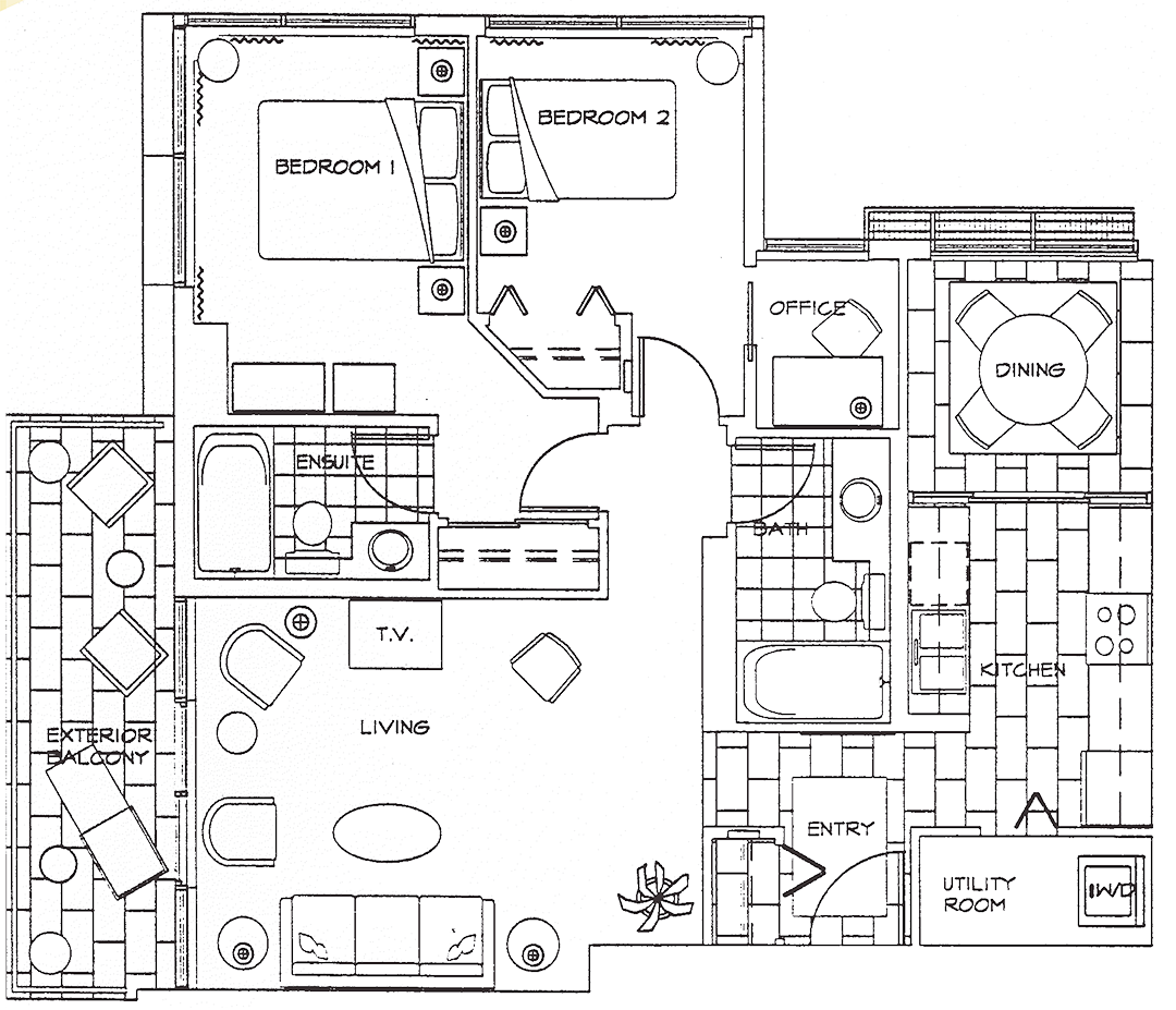 Floor Plan of Two Bedroom Deluxe Apartment at The Residences on Georgia