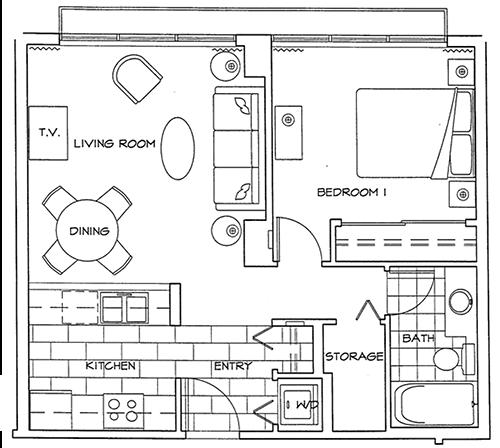 Floor Plan of One Bedroom Apartment