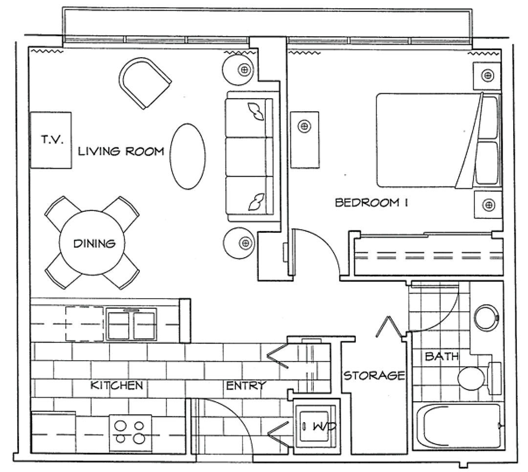 Floor Plan of One Bedroom Apartment at The Residences on Georgia