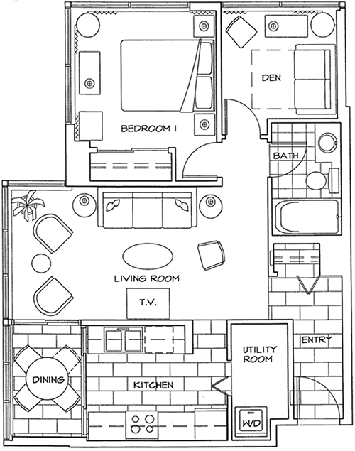 Floor Plan of One Bedroom and Den Apartment