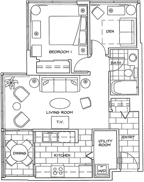 Floor Plan of One Bedroom and Den Apartment