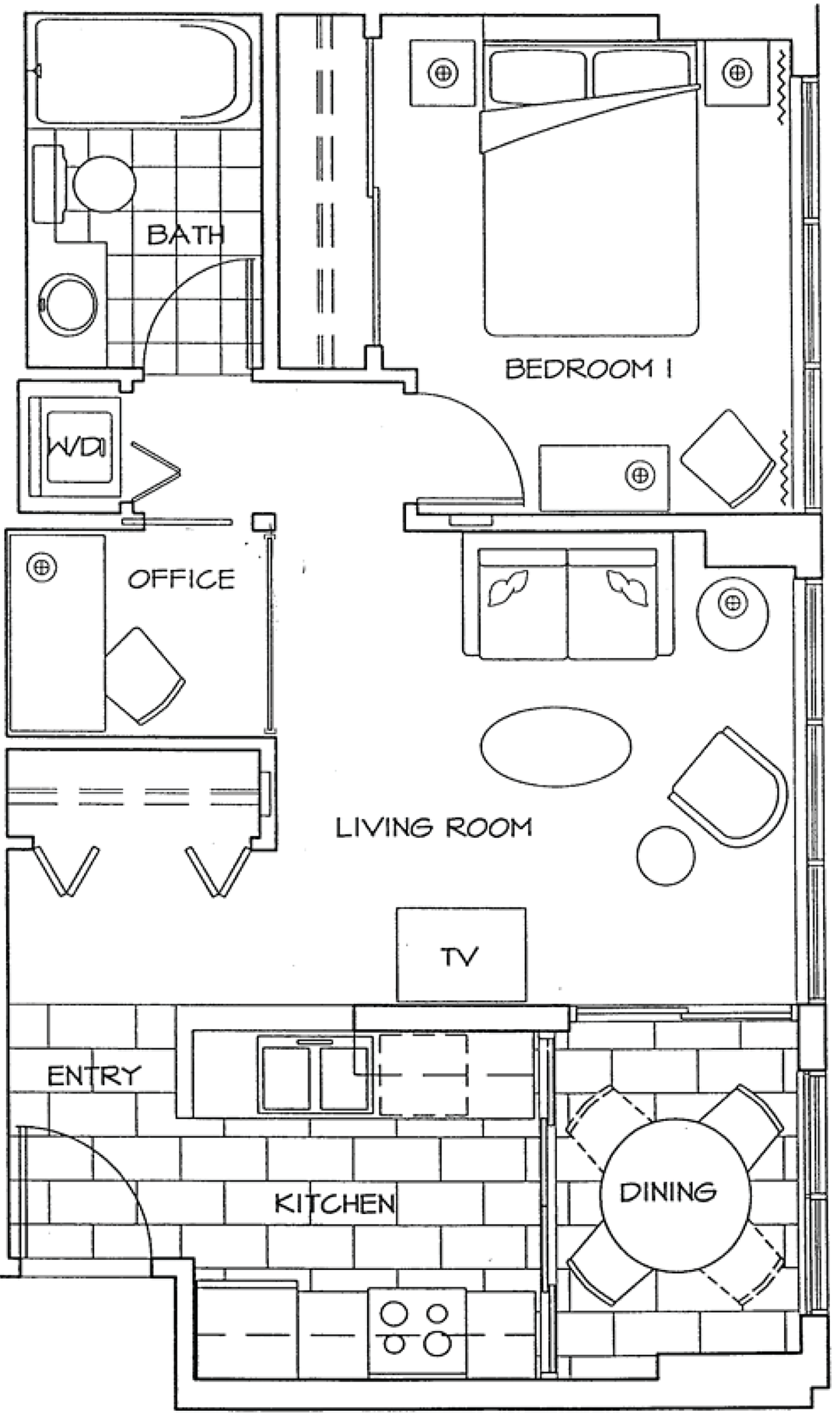 Floor Plan of One Bedroom and Office Apartment at The Residences on Georgia