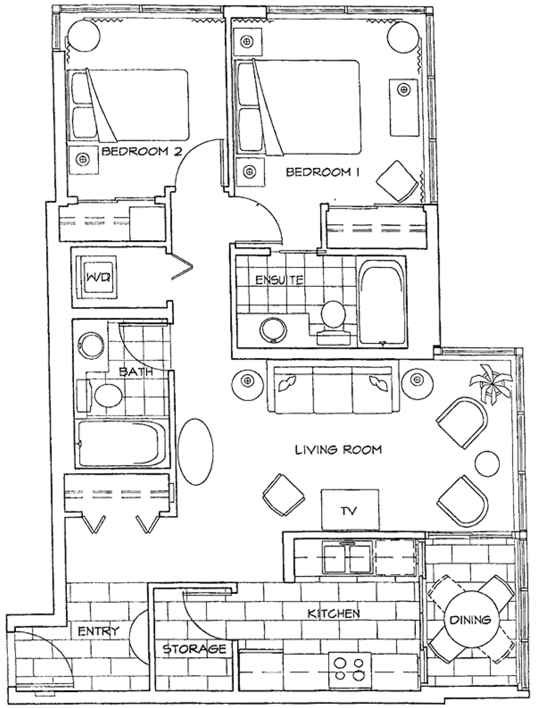 Floor Plan of Two Bedroom Apartment at The Residences on Georgia