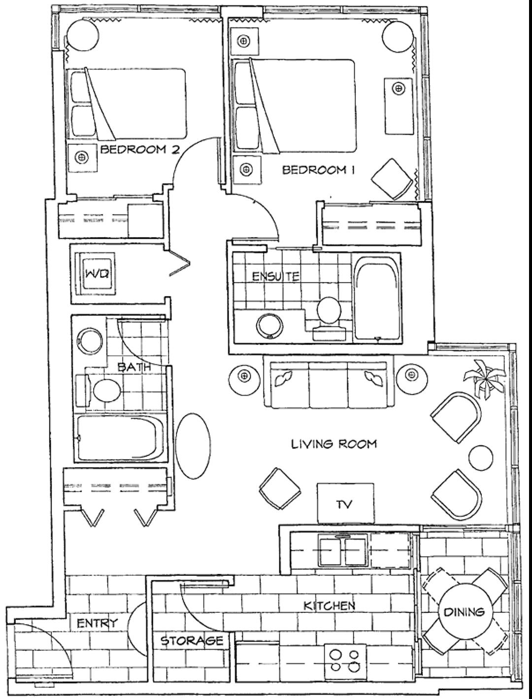 Floor Plan of Two Bedroom Apartment