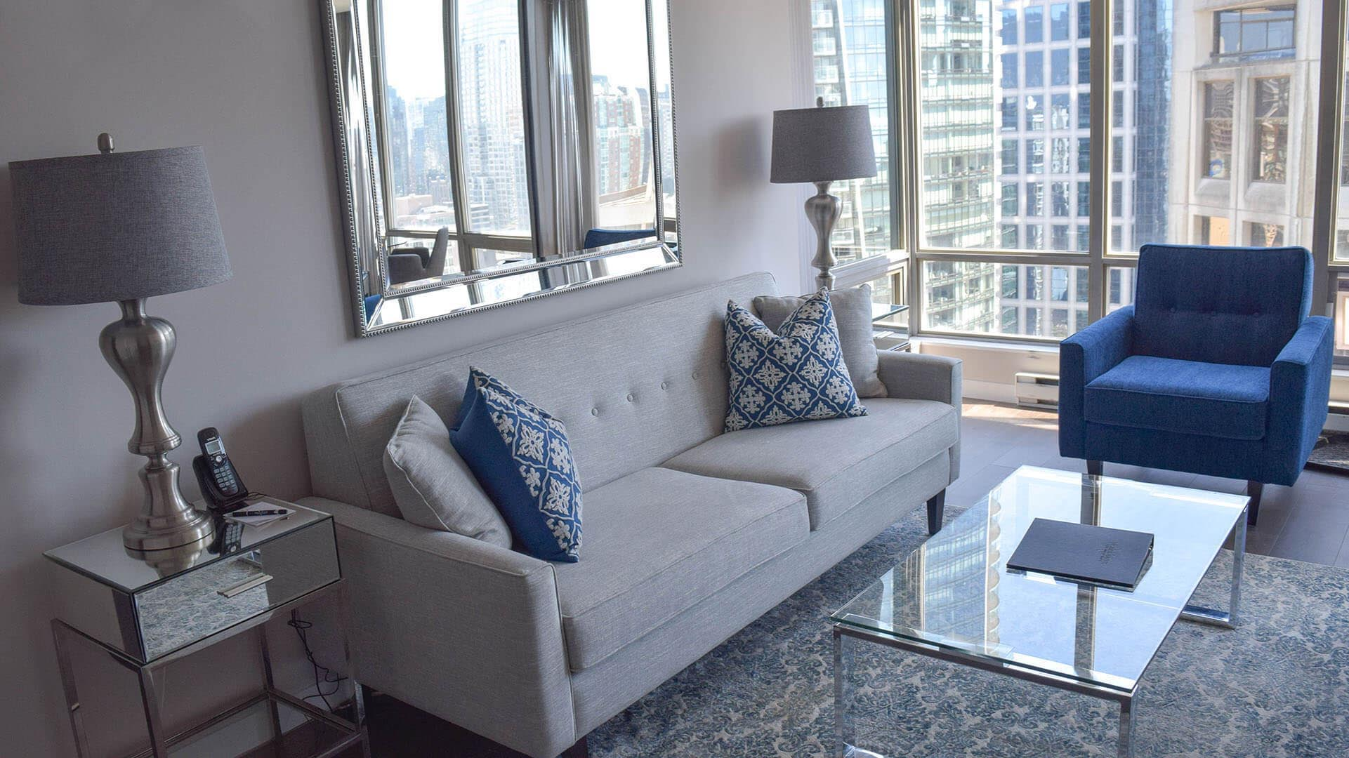 Living Room in Two Bedroom Furnished Apartment