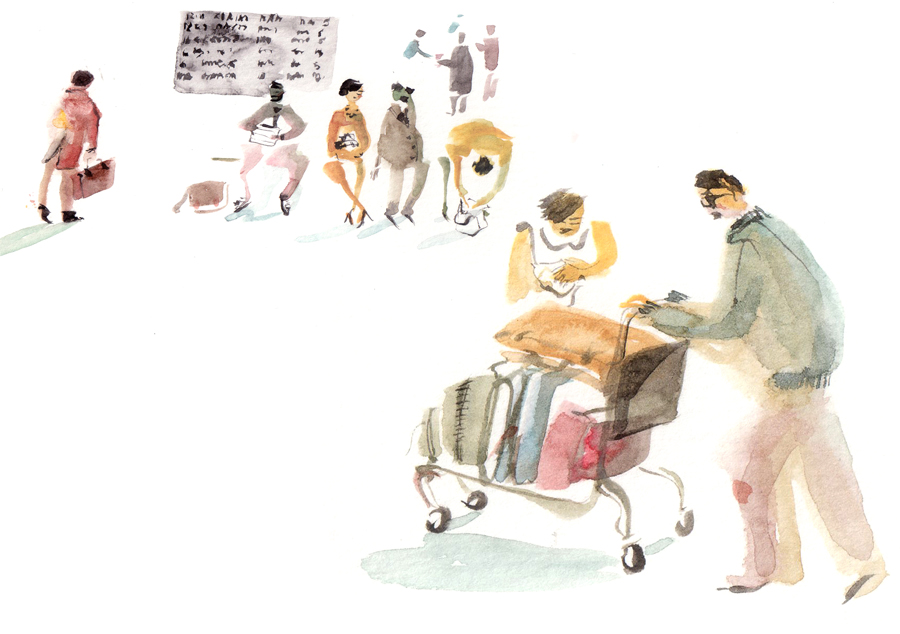 illustration with people at the airport