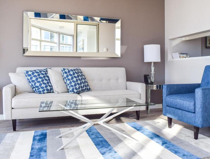 apartment's living room at Vancouver Extended Stay