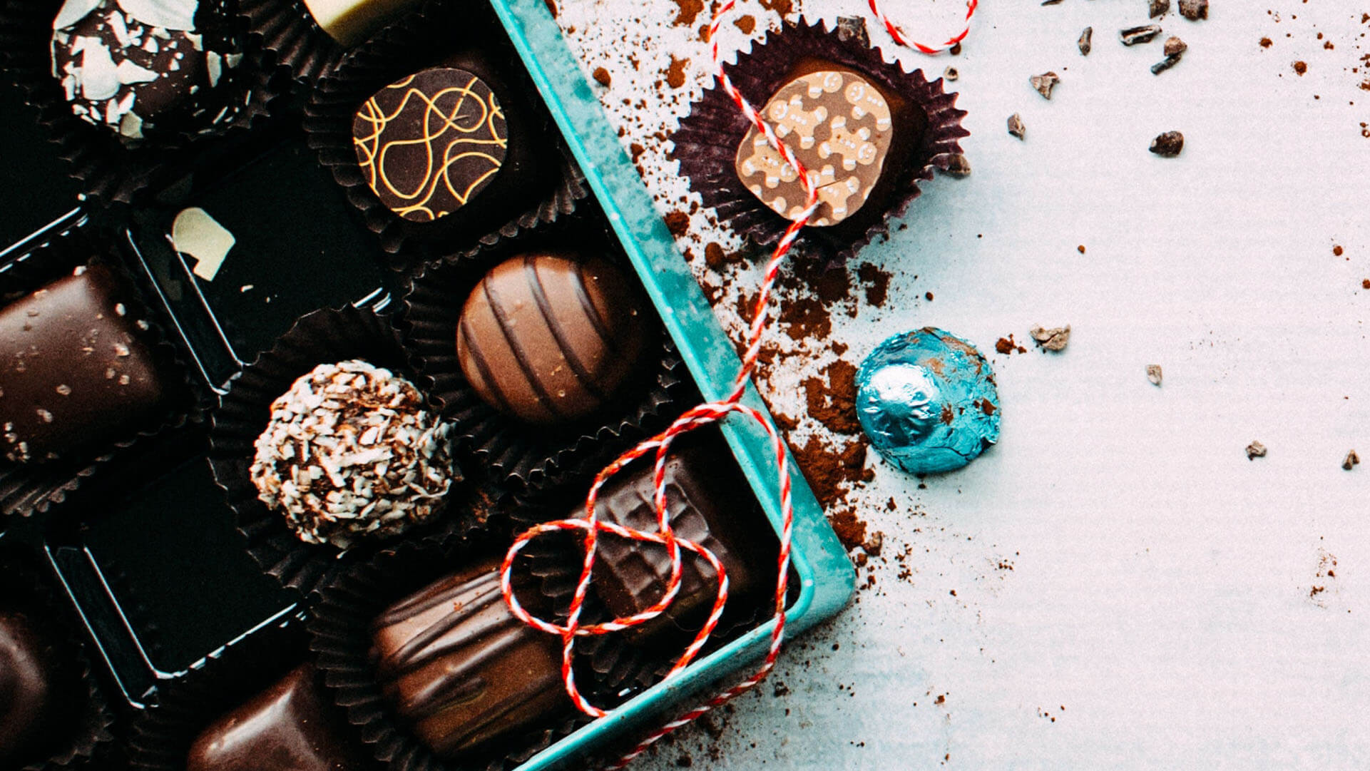 chocolates in a blue and beautiful box