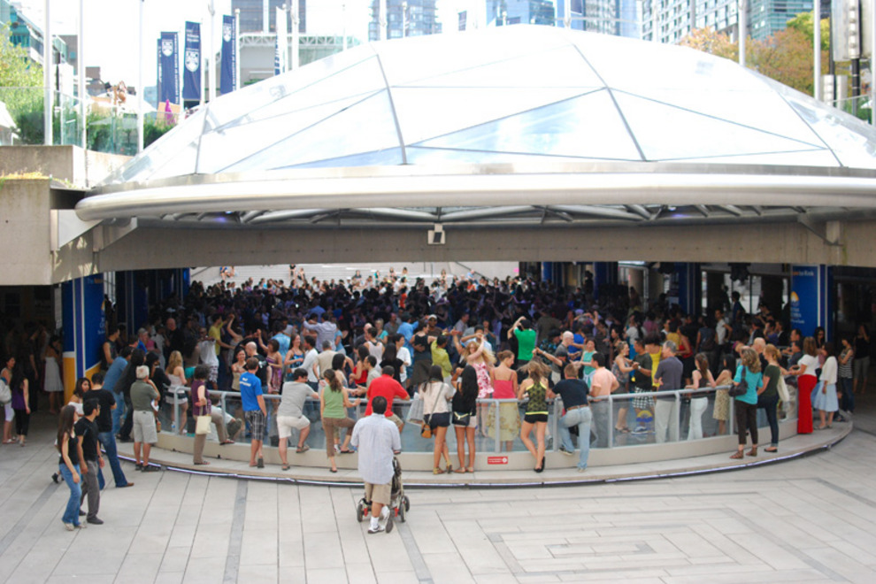 Image of Robson Square during Sunday afternoon salsa