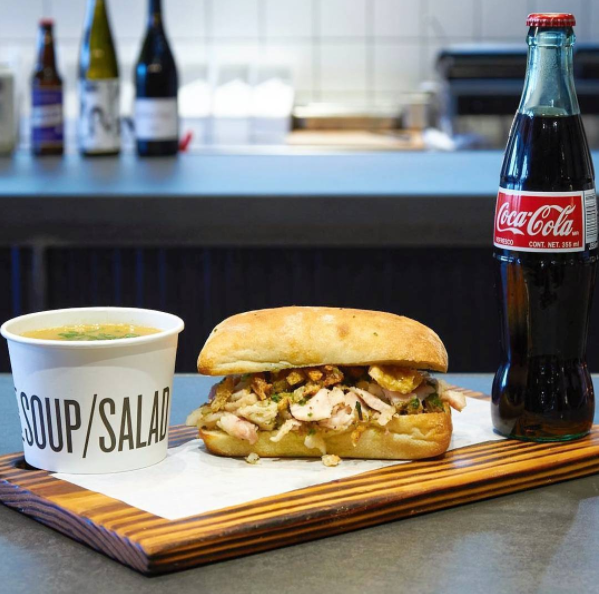 picture from sandwich coke and soup from Meat & Bread
