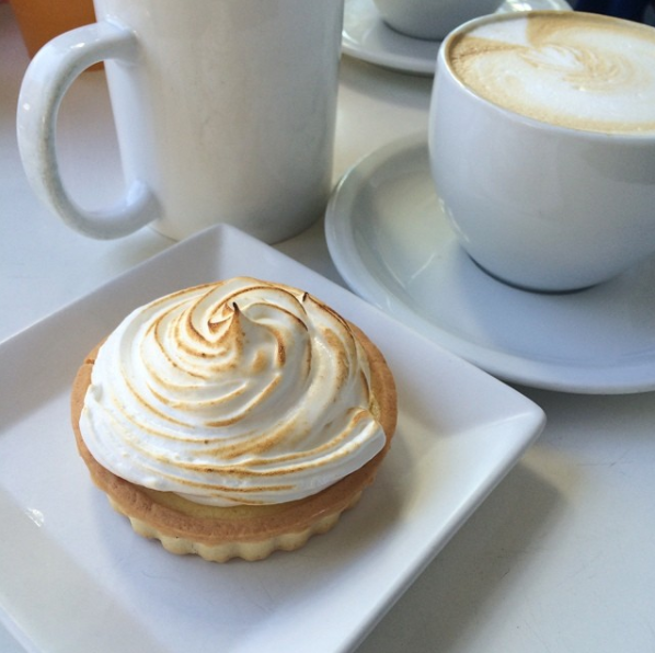 lemon pie and latte at Joyce Tsang Villaggio Cafe: